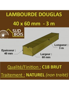 Lambourde / Tasseau 60x40 Douglas Naturel Sec Brut Qualité Charpente 3m