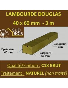 Lambourde / Tasseau 60x40 Résineux Naturel Sec Brut Qualité Choix 2-3 Callage 2m